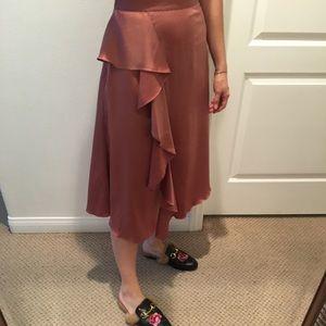 Zara Blush Pink Satin Midi Skirt